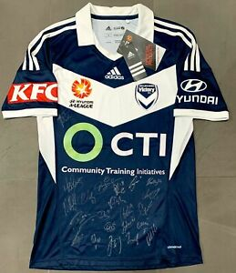 Melbourne Victory Premiers 2014/15 Team Signed Adidas Home Jersey NEW Size S