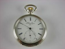 Antique rare Swiss 19j keywind pocket chronometer 1800s. Serviced. Nice case!