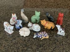 "Lot Of 12 The Franklin Mint Curio Cat Collection Figurines 1986 & 1988 2.5""- 3"""