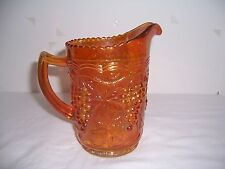 "Vintage Carnival Imperial Glass Pitcher Marigold Grape & Cable 6""  Mrkd"