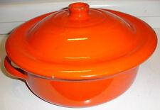 Vintage Albisola orange glasierte Backen Crock Pot 1 Liter Kasserolle Kochgeschirr