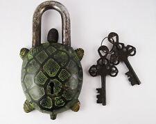 Vintage Tibet Buddhist Style Turtle Tortuoise Brass Puzzle PadLock 2
