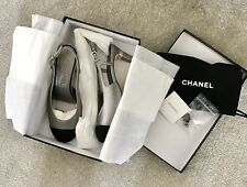 BNIB Chanel Slingbacks Grey With Black Toe -Size 37 1/2 C