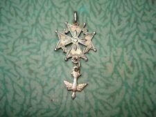 Croix Huguenote  Ancienne en Argent Doré  Médaille Protestante