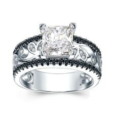 1.3Ct Princess Cut VVS1 D Diamond Engagement Ring Band Style 14k White Gold Over