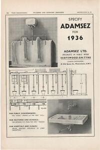 1936 Vintage Advertisement - Adamsez Ltd Specialists In Public Work Westminster