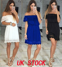UK Womens Off Shoulder Lace Summer Mini Dress Ladies Party Casual Short Dress