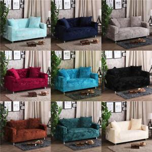 Fit Sofa Slipcover Stretch Cover Luxury Plush Velvet Protector 1-4 Seater