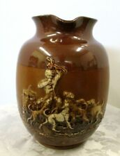ANTIQUE STONEWARE ROYAL DOULTON 6 1/2 INCH PITCHER FOX HUNT SCENES IN RELIEF