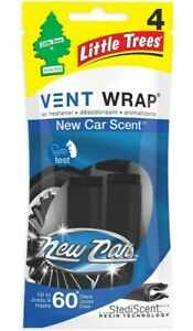 1 Pack Little Trees New Car Scent 4 Vent Wrap up to 60 day air freshener clips