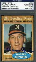 Warren Spahn 1962 Topps Signed Psa/dna Certified Authentic Autograph