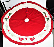 Homemade Felt Christmas Holiday Tree Skirt Dove Birds Noel Cross Stitch
