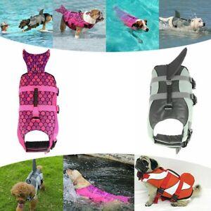 Adjustable Pet Dog Life Jacket Safety Swimming Shark Float Buoyancy Aid Vest UK