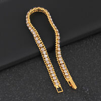 Gold Plated Hip Hop Bracelet Crystal Rhinestone Link Chain Cuff Bangle JewelryPF