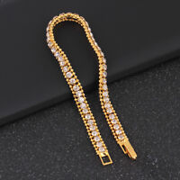 Gold Plated Hip Hop Bracelet Crystal Rhinestone Link Chain Cuff Bangle Jewelr FJ