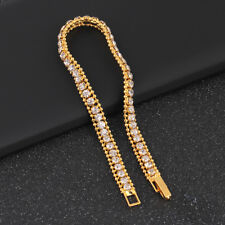 Gold Plated Hip Hop Bracelet Crystal Rhinestone Link Chain Cuff Bangle Jewelry'