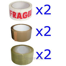 2 x Brown Parcel Tape 2 x Fragile Tape and 2 x Clear Packing Tape 48MM X 66M