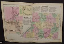 New York  Ontario County Map Gorham Rushville Township 1874 Dbl Pg  W15#11