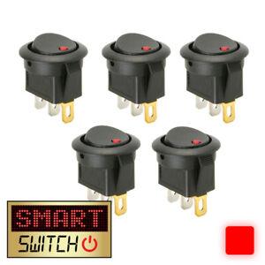 5 x SmartSwitch™ 12V Illuminated Round Rocker ON/OFF Switch Car/Van/Dash RED LED