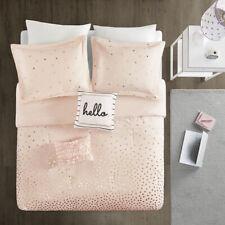 New! ~ Cozy Ultra Soft Modern Chic Pink Metallic Gold Girls Ruffle Comforter Set