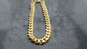 18CT YELLOW GOLD FILLED UNISEX CLUB LINK  BRACELET
