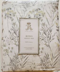 Rachel Ashwell King Sheet Set Wildflowers Floral Gray Yellow