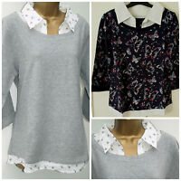 LADIES  BHS MOCK LAYERED SHIRT WITH BIRD PRINT 3/4 SLEEVE TOP Last size 8