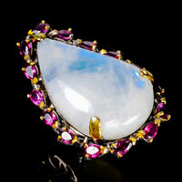 Handmade34ct+ Natural Moonstone 925 Sterling Silver Ring Size 8/R125658