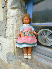 Antique 1930s old French  doll  composition with clothing & wig