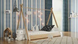 TIPI Hausbett, Kinderbett, Holzbett im skandinavischen Stil, Indianerzelt