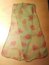 """Vtg 60s-70s Mod Sheer Rayon Psychedelic Strawberry Print Long Scarf 7""""x 37"""""""