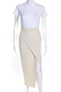 Ronny Kobo Womens Ribebd Knit Side Slit Midi Skirt Cream Size Small