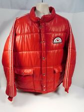 Vintage Red Puffy Swingster Jacket Wolf's Head Oil 2XLarge