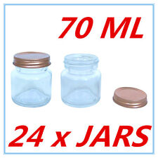 24 x Mini Dessert Candy Glass Jar w/h Screw Top ROSE GOLD Lid AIRTIGHT 70ml A