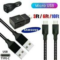 For Samsung Galaxy S7 S6 Note 5 4 Fast Car Wall Set Charger 3/6/10Ft Micro Cable