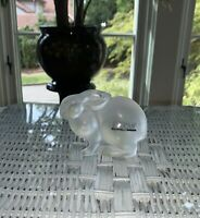 Lalique Frosted Crystal Resting Rabbit #1210500 with Box Excellent Condition