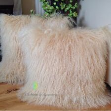 2 X BLONDE YELLOW 40 x 40CM GENUINE MONGOLIAN SHEEPSKIN LAMB FUR CUSHION COVERS