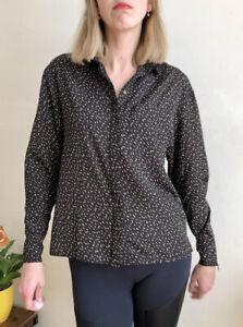 Beautiful Reiss Black Gold Studs Shirt Blouse Uk 10 Loose Cut Lightweight