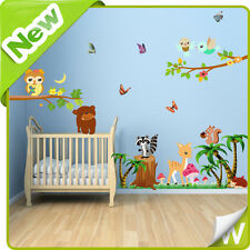 Woodlands Animal Wall Stickers Owl Jungle Zoo Nursery Baby Kids Room Decals Art