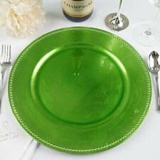 "24 pcs 13"" Lime Green Beaded Round Charger Plates Wedding Party Supplies"