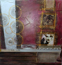 Quadro Marilyn Monroe ad olio  cm 100x100 base blu oro moderno arredo n 2