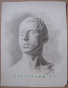 Herm. Sonntag Selbstportrait? Halbbüste Männerkopf Zeichnung 51,5x39,5 cm 1892