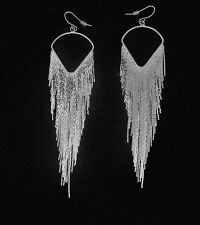 Silver Plated Fringe Teardrop Earrings