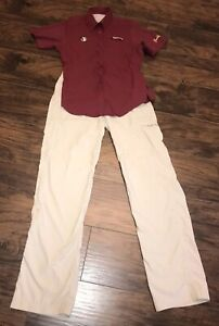 Columbia Womens Fishing Shirt Sz S Red Button Up  Florida State W/Size 8 Pants