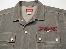VTG Avirex USA Snap Button Front Gray Denim Jean Trucker Jacket size XL - Nice