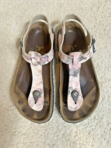 Papillio by Birkenstock sandals Kairo White Pink Roses EU 38 US 7 Used Thong