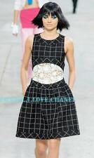 CHANEL 14P $9K TRES CHIC BLACK/WHITE GUIPURE LACE INSET TWEED DRESS,34/36,NEW