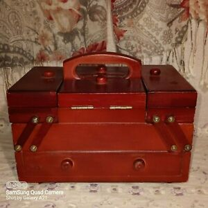 Vintage 7 Compartment Red Lacquered Chinese Sewing Catty Craft Organizer