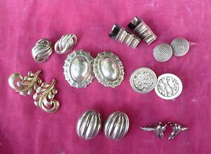 LOT OF 8 PAIRS OF VINTAGE RETRO STERLING SILVER EARRINGS