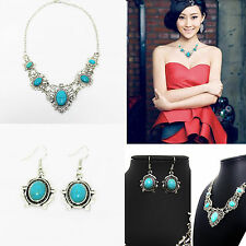 Tibet Silver Vintage Jewelry Turquoise Stone Pendant Necklace Earrings Set